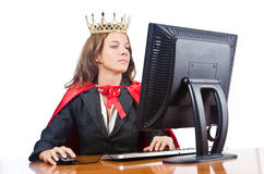Superwoman worker with crown. Working in office Royalty Free Stock Photos