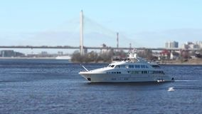 Superyacht is anchored. White superyacht is anchored seascape stock video footage