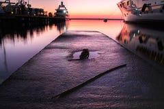 Superyacht bij zonsondergang Royalty-vrije Stock Foto