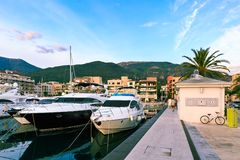 Superyachts. Waterfront of Tivat, Montenegro. royalty free stock photos