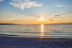 Supetar beach sunset Royalty Free Stock Image