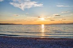 Supetar beach sunset Royalty Free Stock Image