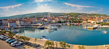 Supetar on Brac island panoramic view of harbor. And old waterfront, Dalmatia, Croatia Stock Photography