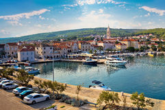 Supetar on Brac island panoramic view of harbor. And old waterfront, Dalmatia, Croatia Stock Image