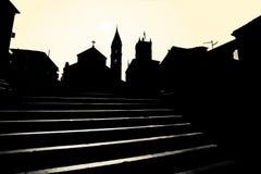 Supetar church and landmarks black and white Stock Photo
