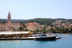 Supetar, Croatia. May 26, 2018: View of small town Supetar, on island Brac, Croatia with traditional Mediterranean architecture. Supetar is popular summer stock image