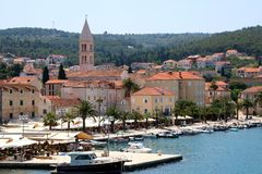 Supetar, Croatia. May 26, 2018: View of small town Supetar, on island Brac, Croatia with traditional Mediterranean architecture. Supetar is popular summer stock photo