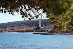 Supetar, Croatia. Small town Supetar on island Brac, Croatia, surrounded with sea and pine trees. Selective focus stock photo