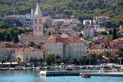 Supetar, Croatia. August 15, 2017: View of small town Supetar, on island Brac, Croatia with traditional Mediterranean architecture. Supetar is popular summer royalty free stock images