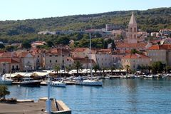 Supetar, Croatia. August 15, 2017: View of small town Supetar, on island Brac, Croatia with traditional Mediterranean architecture. Supetar is popular summer stock photo