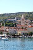 Supetar, Croatia. August 15, 2017: View of small town Supetar, on island Brac, Croatia with traditional Mediterranean architecture. Supetar is popular summer stock image