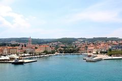 Supetar, Croatia. May 27, 2018: View of small town Supetar, on island Brac, Croatia with traditional Mediterranean architecture. Supetar is popular summer royalty free stock image