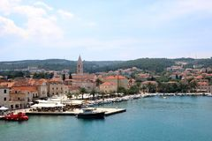 Supetar, Croatia. May 27, 2018: View of small town Supetar, on island Brac, Croatia with traditional Mediterranean architecture. Supetar is popular summer stock photography