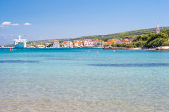 Supetar harbor. And summer resort Royalty Free Stock Images