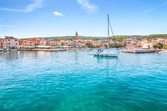 The Supetar harbor at sunny day on the Brac island, Croatia. Europe stock photos