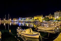 Supetar port by night Royalty Free Stock Photography