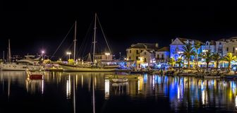 Supetar port by night Royalty Free Stock Image