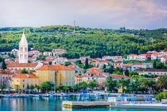 Supetar town in Croatia, Europe. View at town Supetar, popular touristic place on Island Brac, Croatia stock image