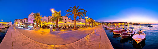 Supetar waterfront evening panoramic view Stock Photography