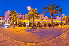 Supetar waterfront evening panoramic view Stock Images
