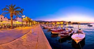 Supetar waterfront evening panoramic view Stock Image