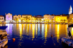 Supetar waterfront evening view from sea Stock Photos