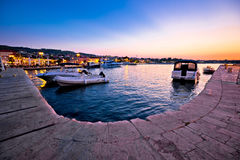 Supetar waterfront and harbor evening view Stock Photo