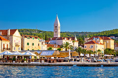 Supetar waterfront view from sea Stock Image