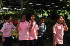 Suphan Buri, Thailand - November 19, 2015: Thailand Students visit the flower market on November 19, 2015 in Suphanburi, Thailand. Stock Photography