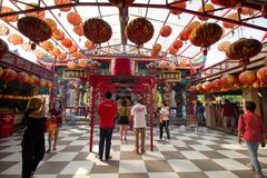 Suphanburi Chinese temple Thailand - 21 January 2018: Worshipers stock photo