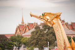 Suphannahong prow. Suphannahong boat is a boat used in the ceremony with the King of Thailand. (Kathin at Wat Arun Royalty Free Stock Photo