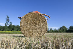 Supine man on Hay bale Royalty Free Stock Images