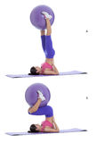 Supine overhead stretch with a swiss ball Royalty Free Stock Photo