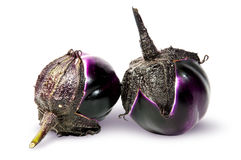 Supine and standing round ripe eggplants Royalty Free Stock Image