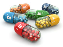 Suplementos dietéticos. Píldoras de la variedad. Cápsulas de la vitamina. stock de ilustración