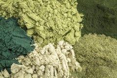 Suplementos dietéticos verdes sanos Foto de archivo