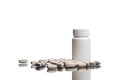 Suplementos, medicaciones o botella de la vitamina Imagen de archivo libre de regalías