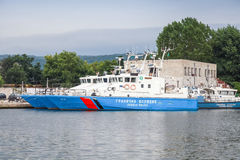 Suporte búlgaro dos navios da polícia fronteiriça no porto de Varna Fotos de Stock Royalty Free