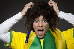 Suporte Brasil do aficionado desportivo do futebol Foto de Stock