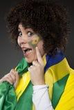 Suporte Brasil do aficionado desportivo do futebol Fotografia de Stock Royalty Free