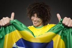 Suporte Brasil do aficionado desportivo do futebol Fotos de Stock Royalty Free