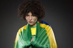 Suporte Brasil do aficionado desportivo do futebol Fotografia de Stock