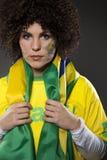 Suporte Brasil do aficionado desportivo do futebol Foto de Stock Royalty Free