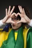 Suporte Brasil do aficionado desportivo do futebol com coração Imagens de Stock Royalty Free