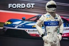 Suporte da exposição de Ford GT na exposição automóvel 2018 do International de Genebra imagem de stock
