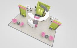 Suporte da exposição na rendição verde e cor-de-rosa das cores 3d Imagens de Stock Royalty Free