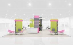 Suporte da exposição na rendição verde e cor-de-rosa das cores 3d Fotografia de Stock