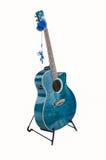 Suporte da guitarra acústica com fones de ouvido Foto de Stock