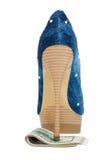 Suporte das sapatas das mulheres no dinheiro Fotografia de Stock