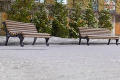 Suporte de Benchs em um parque no tempo nevado na noite fotos de stock
